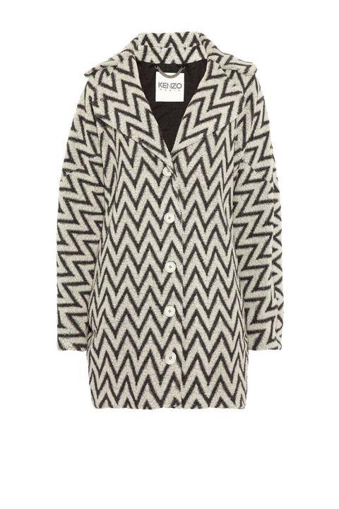 kenzo black white graphic coat