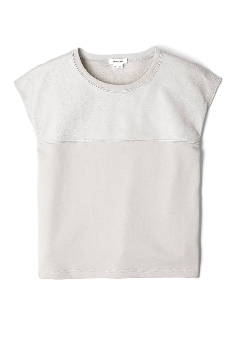 helmut lang ash neutral moto terry leather panel tshirt