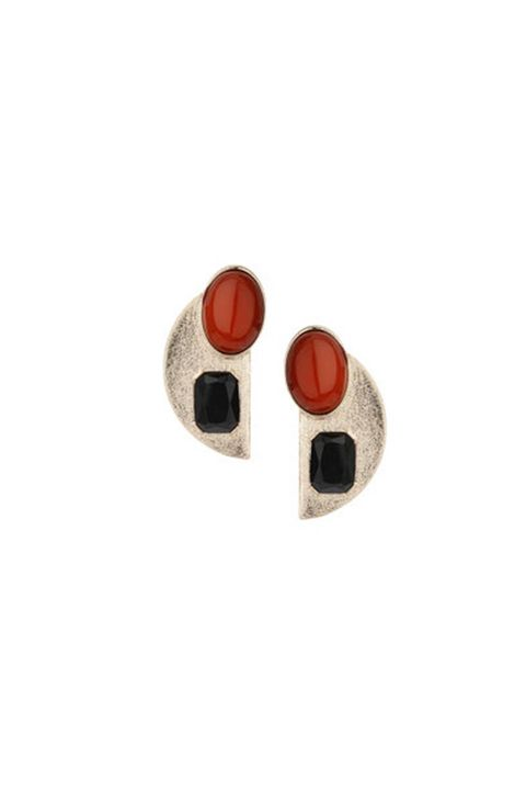 Carmine, Earrings, Beige, Body jewelry, Circle, Coquelicot, Silver,