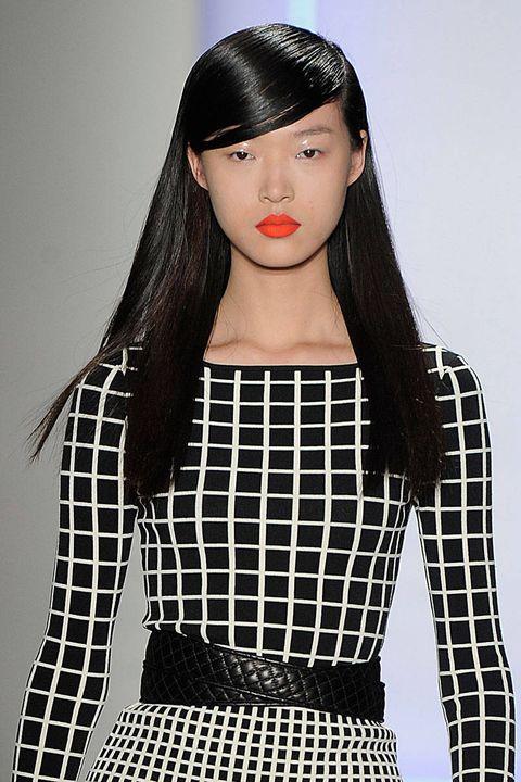Lip, Hairstyle, Sleeve, Shoulder, Pattern, Style, Waist, Headgear, Black hair, Beauty,