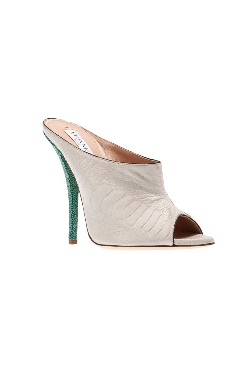 vionnet nude and green mules