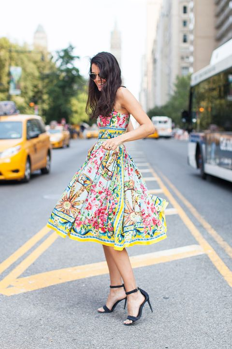 Clothing, Yellow, Dress, Shoe, Street, Style, Taxi, Street fashion, Bag, Fashion accessory,