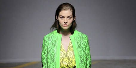 Clothing, Footwear, Green, Yellow, Sleeve, Fashion show, Shoulder, Joint, Style, Fashion model,