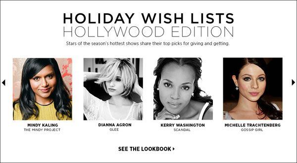 Shopbop Holiday Gift Guide Guest Editors Kerry Washington Dianna Agron Mindy Kaling Gift Picks