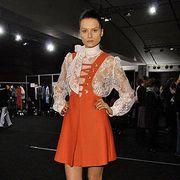 Clothing, Outerwear, Dress, Style, Fashion model, Fashion accessory, Fashion, Knee, Thigh, Fashion show,