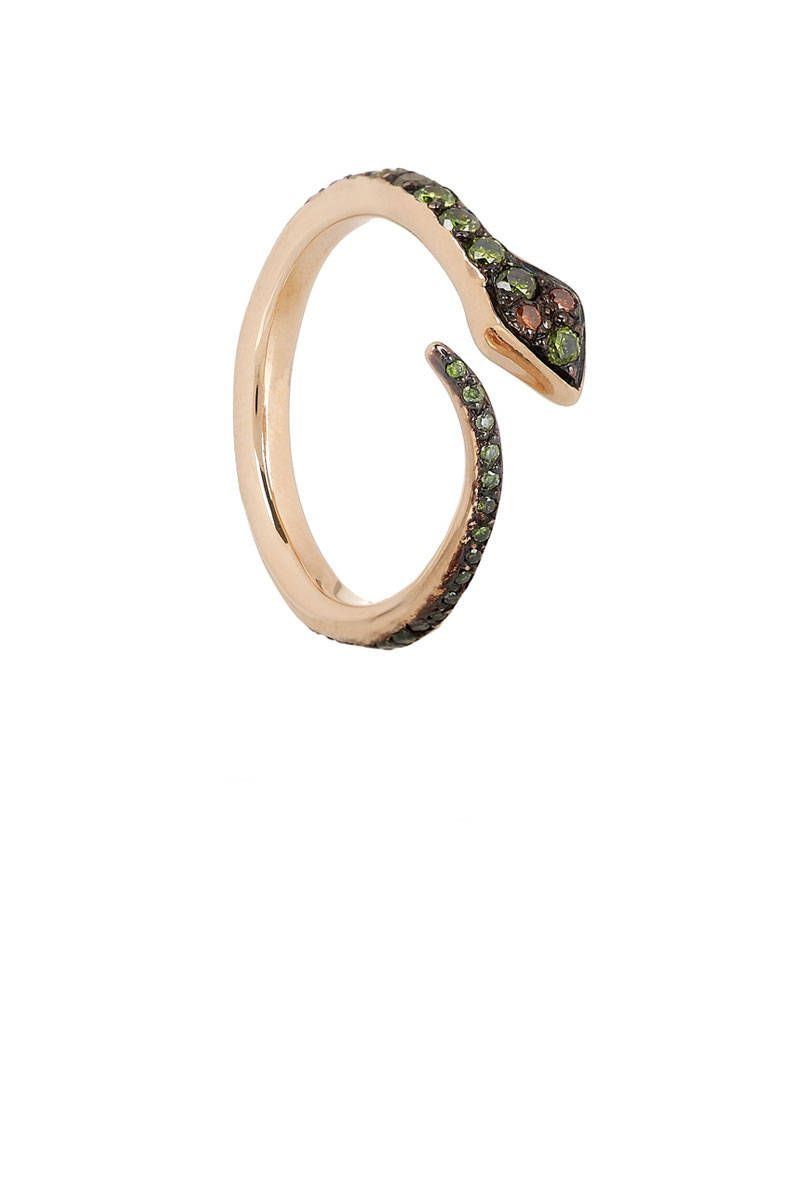 ileana makri big snake rose gold diamond ring