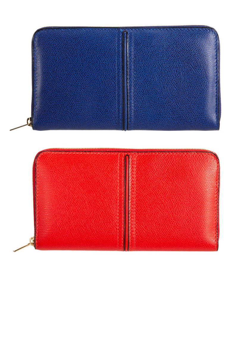 valextra red and blue wallet