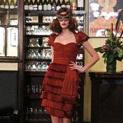 Flowerpot, Dress, Shoulder, Human leg, One-piece garment, Formal wear, High heels, Waist, Cocktail dress, Houseplant,
