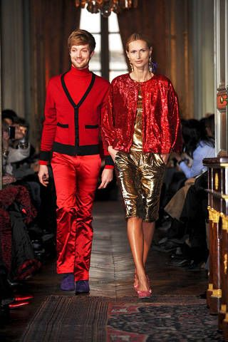 Textile, Red, Style, Flooring, Fashion, Maroon, Runway, Curtain, Fashion design, Light fixture,