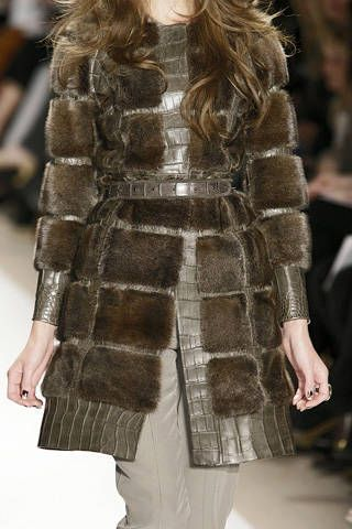 Clothing, Brown, Sleeve, Shoulder, Textile, Joint, Fashion show, Outerwear, Style, Pattern,