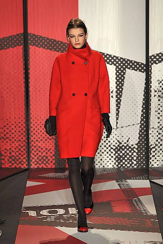 Sleeve, Textile, Red, Outerwear, Coat, Pattern, Knee, Fashion, Thigh, Tights,