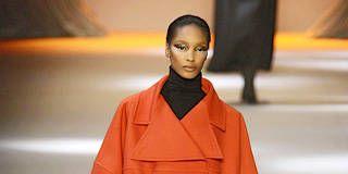 Clothing, Sleeve, Joint, Style, Orange, Fashion show, Fashion model, Fashion, Knee, Street fashion,