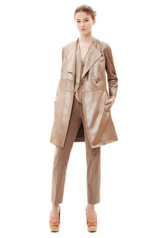 Brown, Collar, Sleeve, Shoulder, Dress shirt, Coat, Textile, Standing, Formal wear, Suit trousers,