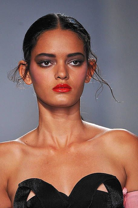 Lip, Hairstyle, Skin, Chin, Shoulder, Eyebrow, Eyelash, Style, Strapless dress, Jaw,
