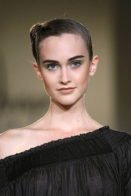 Clothing, Hair, Head, Ear, Lip, Hairstyle, Eyebrow, Eyelash, Style, Eye shadow,
