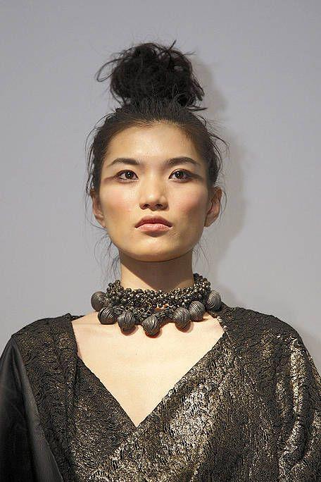 Clothing, Lip, Hairstyle, Eyebrow, Eyelash, Style, Fashion, Neck, Black hair, Fashion model,