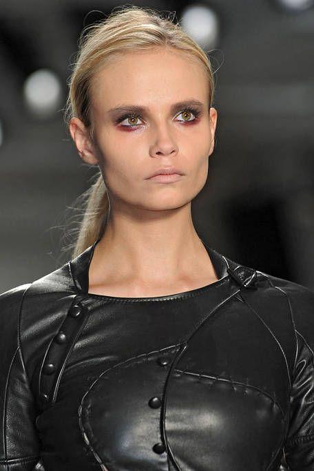 Lip, Hairstyle, Eyebrow, Style, Eyelash, Jacket, Blond, Latex, Brown hair, Street fashion,
