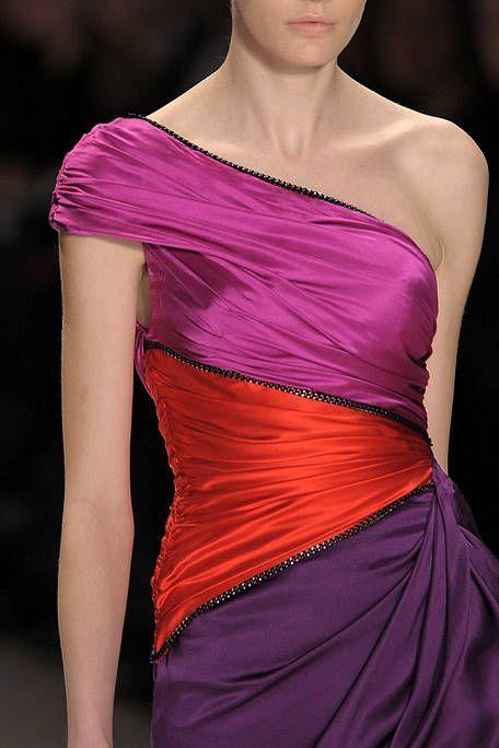 Clothing, Shoulder, Textile, Purple, Magenta, Joint, Red, Waist, Dress, Fashion model,