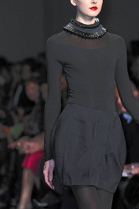 Lip, Shoulder, Dress, Joint, Fashion show, Fashion model, Style, Waist, Fashion, Neck,