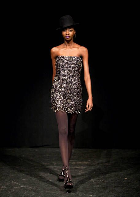 Clothing, Human body, Dress, Human leg, Shoulder, Hat, Joint, Fashion show, One-piece garment, Style,