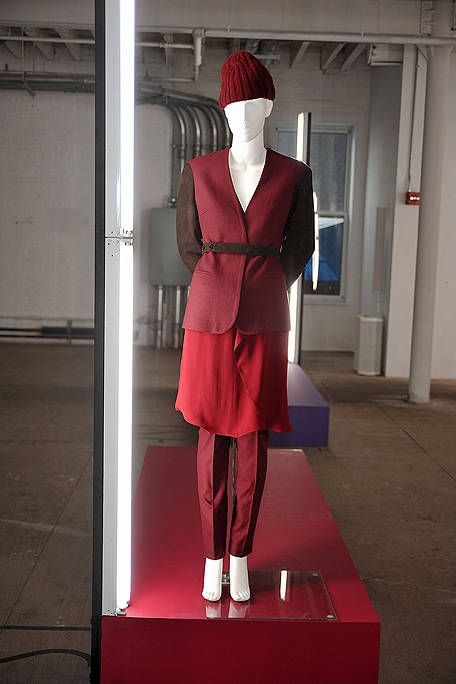 Red, Mannequin, Carmine, Red hair, Maroon, Wig, Fashion design, Costume, Costume design, Fashion illustration,