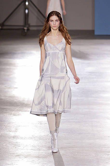 Clothing, Fashion show, Dress, Shoulder, Joint, Human leg, Runway, One-piece garment, Waist, Style,