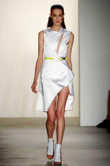 Clothing, Human leg, Shoulder, Dress, Joint, Shoe, White, One-piece garment, Fashion show, Style,