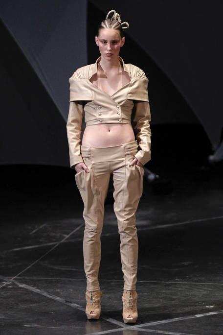 Brown, Sleeve, Human body, Khaki, Standing, Collar, Boot, Fashion model, Fashion show, Fashion,
