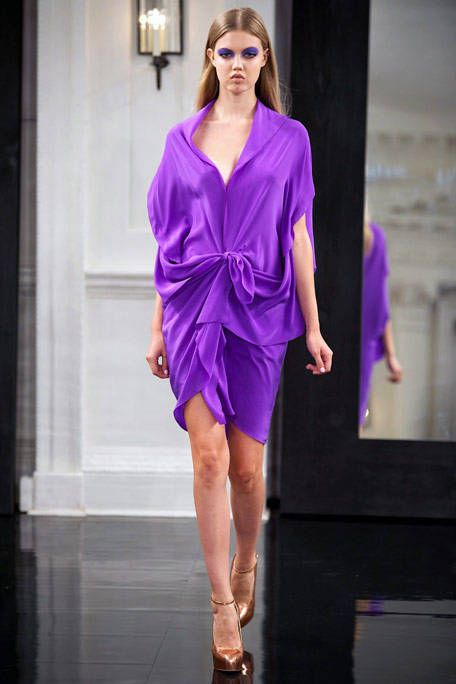 Fashion show, Shoulder, Joint, Runway, Human leg, Purple, Style, Fashion model, Violet, One-piece garment,