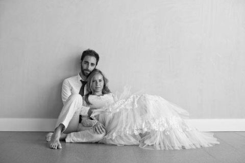 Photograph, Flooring, Floor, Comfort, Grey, Monochrome, Gown, Love, Beard, Wedding dress,