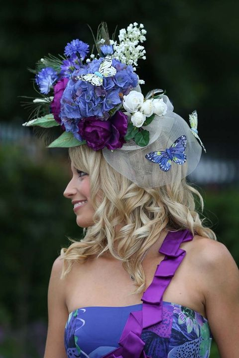 Clothing, Blue, Purple, Hair accessory, Lavender, Violet, Petal, Electric blue, Headpiece, Headgear,