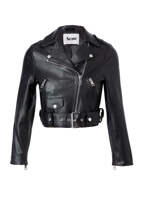 acne mape black leather motorcycle jacket