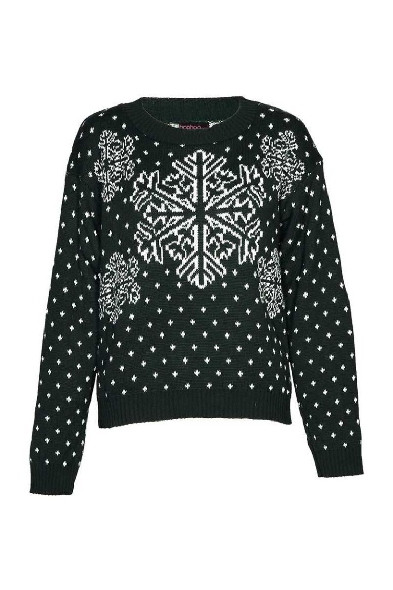 boohoo dark  green snowflake sweater
