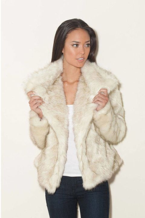 guess candide faux fur white jacket