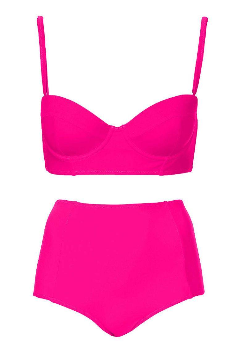 topshop hot pink longline bikini