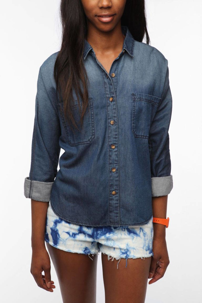 bdg breezy chambray button down shirt