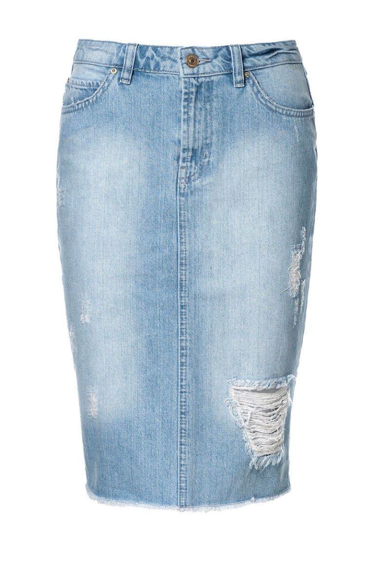4292a553 Zara Ripped Denim Pencil Skirt - raveitsafe