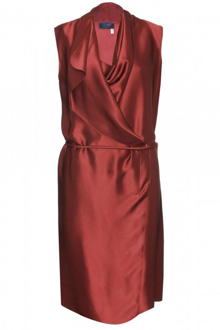 lanvin satin wrap effect dress
