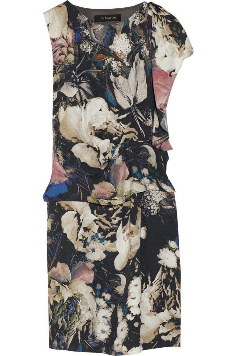 thakoon draped floral print crepe dress