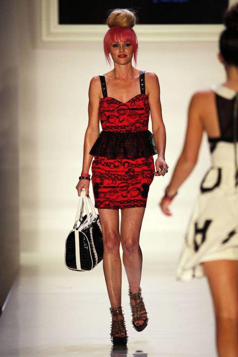 Clothing, Leg, Dress, Human leg, Shoulder, Red, Joint, Style, Waist, One-piece garment,