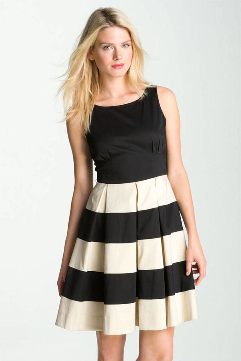 kate spade celina striped pleated dress
