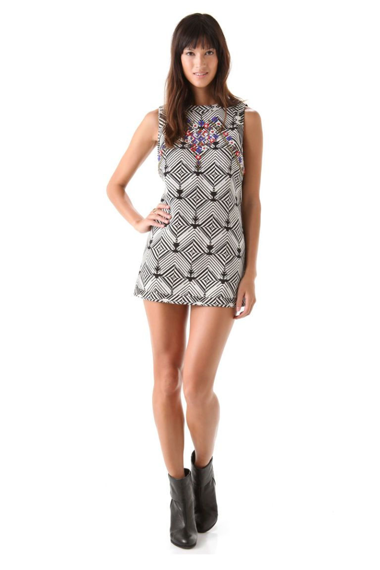 free people mod black white mini dress