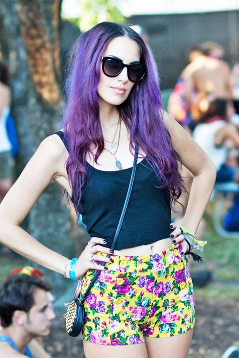 street style lollapalooza purple hair