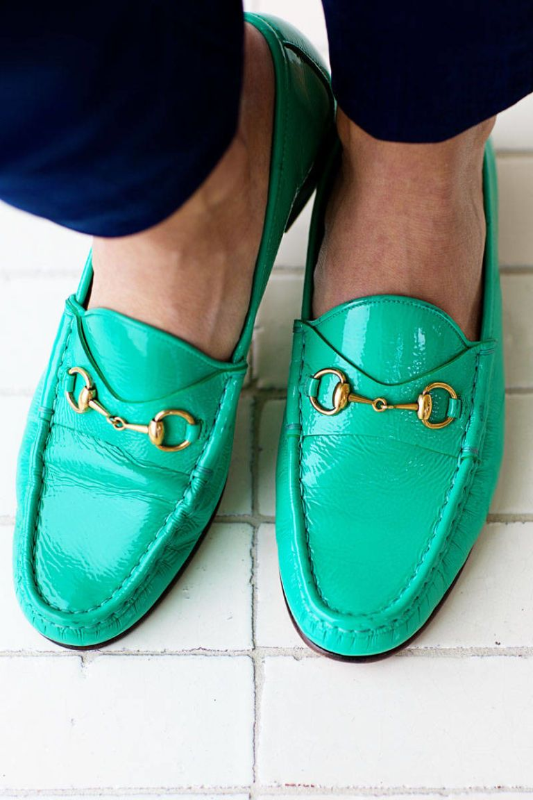 green gucci loafer