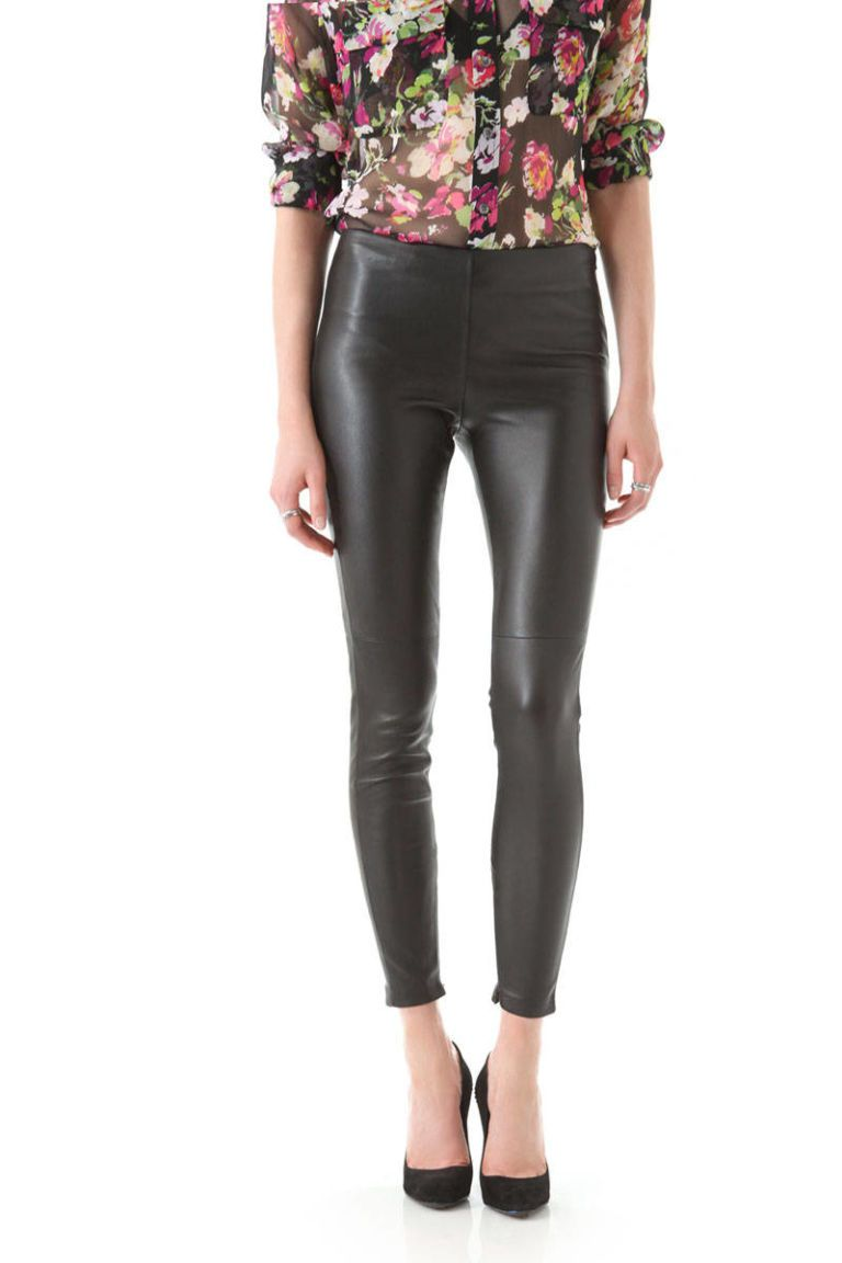 victoria beckham dark leather leggings