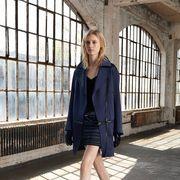 Clothing, Sleeve, Human leg, Textile, Shoe, Coat, Outerwear, Collar, Style, Street fashion,