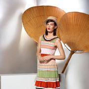 Shoulder, Human leg, Fashion accessory, Fashion, Waist, Knee, Sandal, Tan, Day dress, One-piece garment,