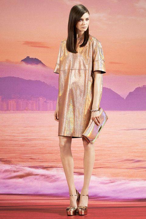 Shoulder, Human leg, Dress, High heels, Fashion model, Beauty, One-piece garment, Sandal, Fashion, Knee,