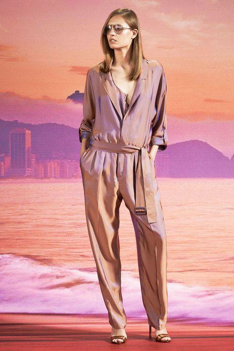 Style, Fashion model, Model, Suit trousers, Long hair, Waist, Fashion design, Fashion show, Sandal, Silk,