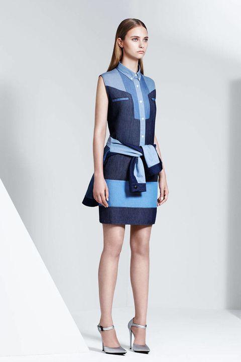 Blue, Collar, Sleeve, Shoulder, Human leg, Dress, Joint, Standing, White, One-piece garment,